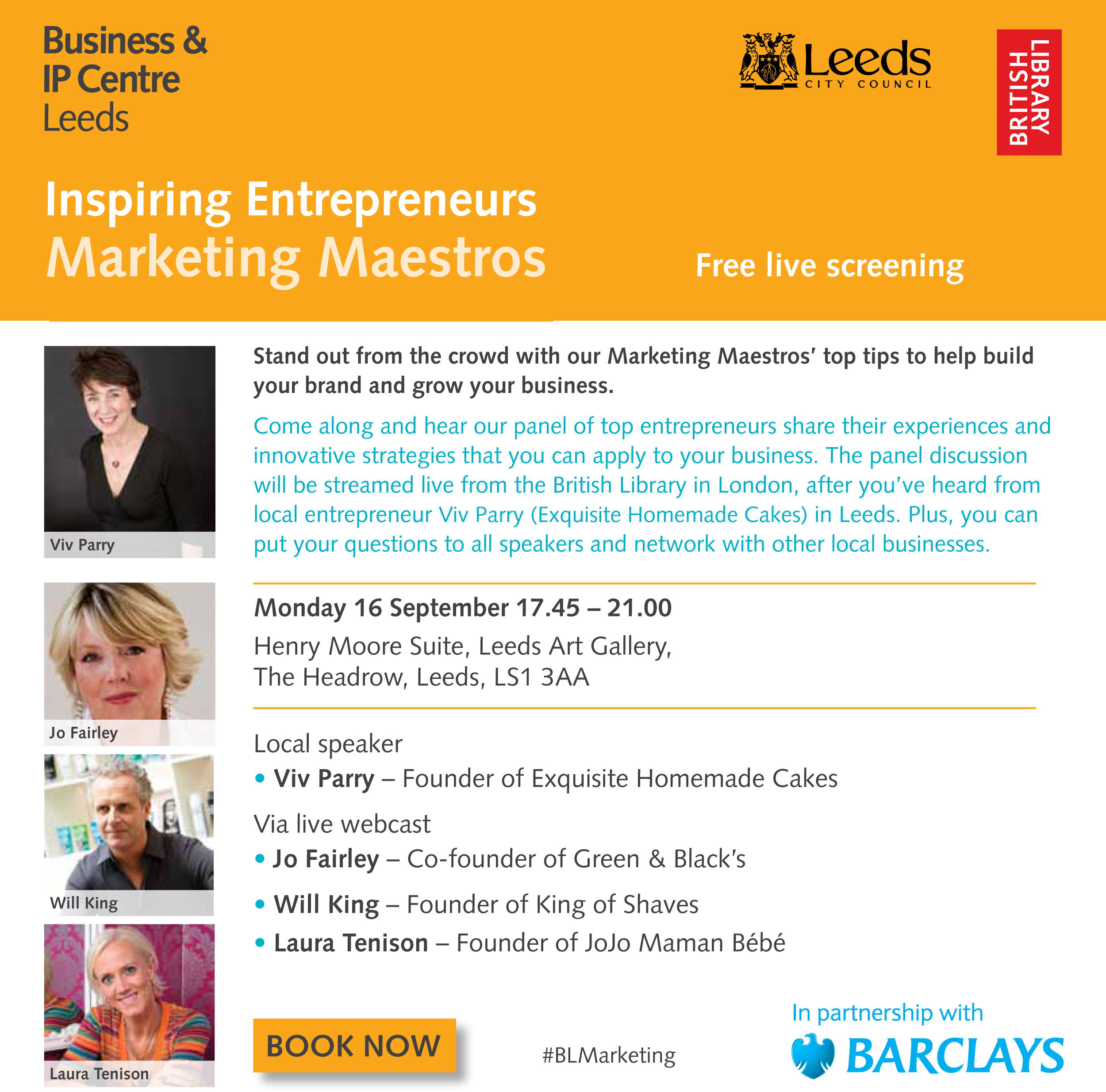 Inspiring Entrepreneurs: Marketing Maestros, Henry Moore Suite, Leeds Art Gallery - 16 September 2013