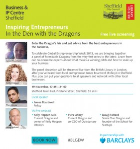 Inspiring Entrepreneurs: In the Den with the Dragons, Sheffield Town Hall - 19 November 2013